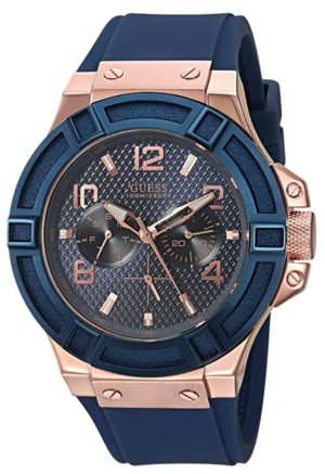 Rose-gold toned Guess fashion piece with Japanese quartz movement