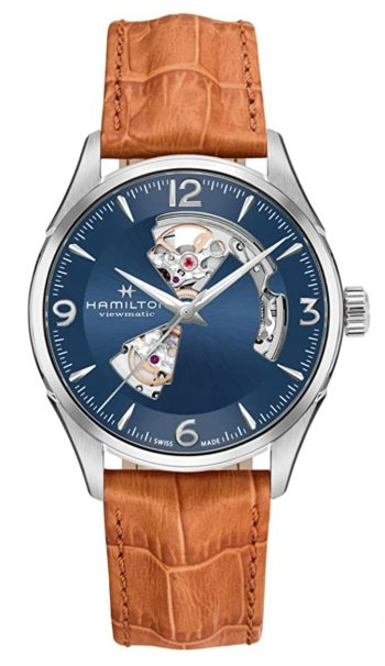 Hamilton automatic watch with dispersed cuts on blue dial