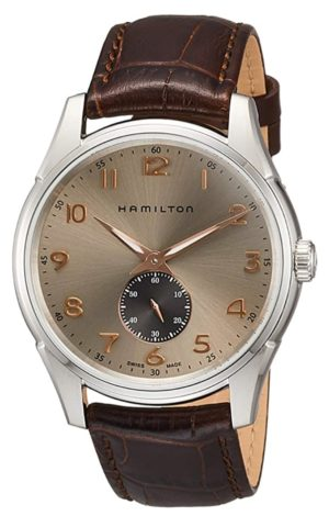 Beige and copper-tone timepiece with silver case