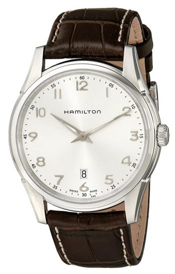 analog piece with white dial and brown leather strap