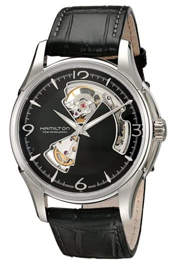 Black dialled mechanical watch with wheel and gears visible