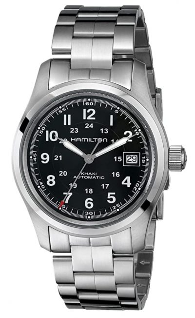 stainless steel piece with black dial
