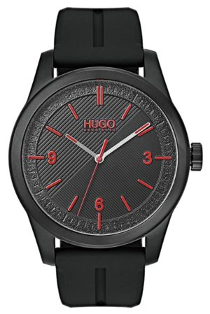 An all-black Hugo Boss fashion watch with nylon band