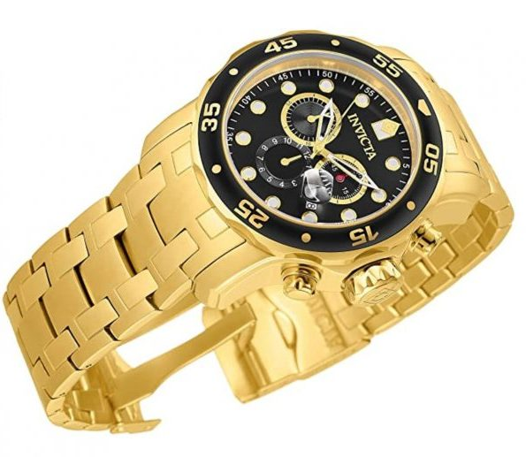 Invicta Pro Diver in gold covering and with black dial