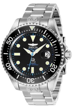 Professional dive watch with luminous hands and black face