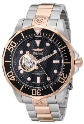 Dive-inspired watch with rose-gold case and open cut