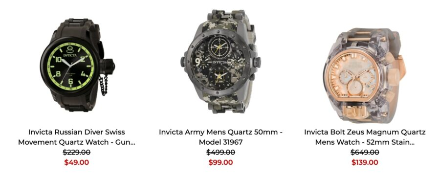 Invicta watches review prices