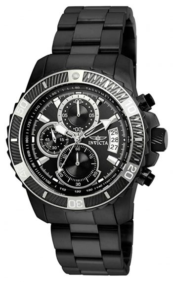 Grayscaled watch with textured bezel and black metal band