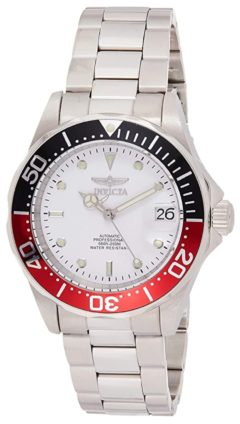 40mm dive watch with metal construction and white face