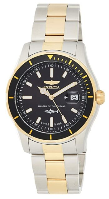 Gold and silver toned watch with black dial