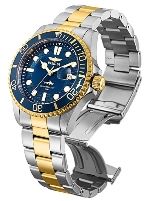 Luxurious Invicta Pro Diver wristwatch with blue dial and gold-toned bracelet