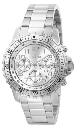 An all-silver timepiece with chronograph