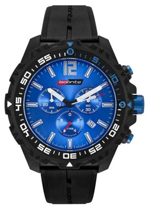 Timepiece with striking blue dial and carbon case