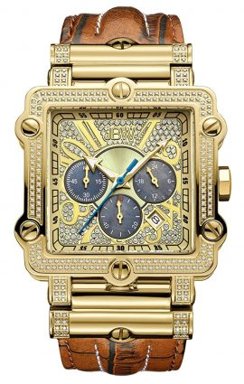 Gold-plated quadrangle diamond watch