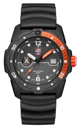 An orange and black watch with durable construction