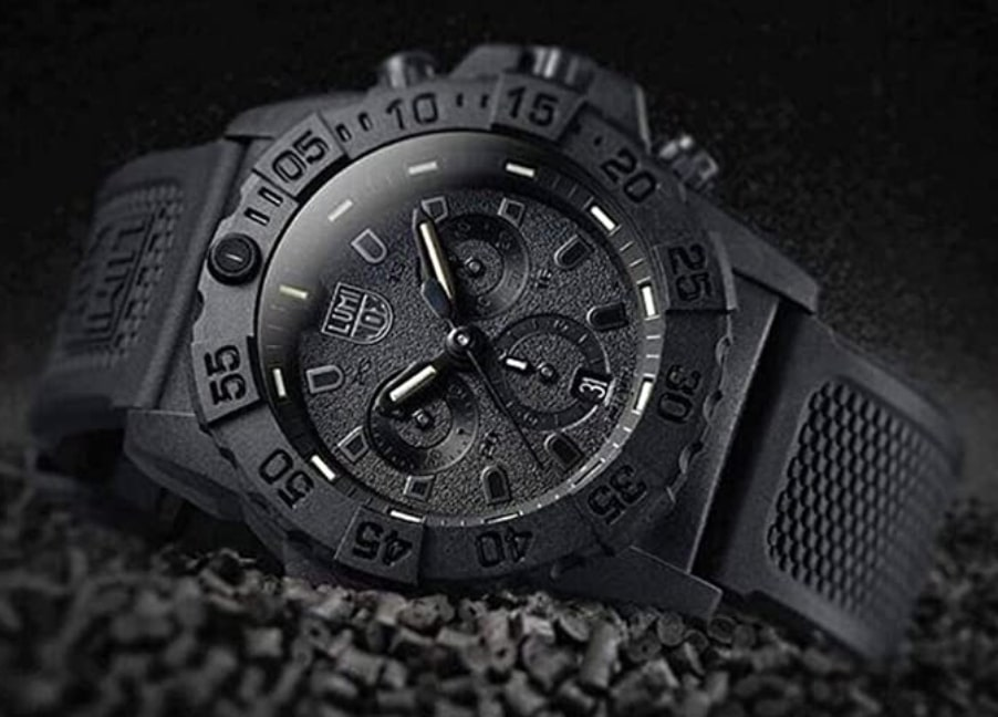 Carbonox cased Luminox watch with an all-black design