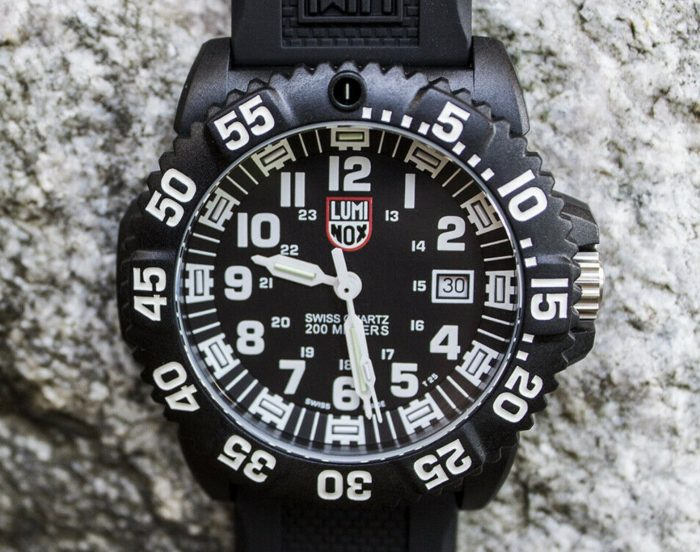 Luminox navy seal watch with black-white face