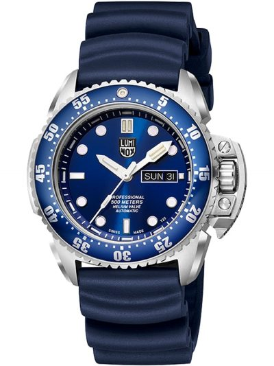 Dive watch with blue dial and crown protection