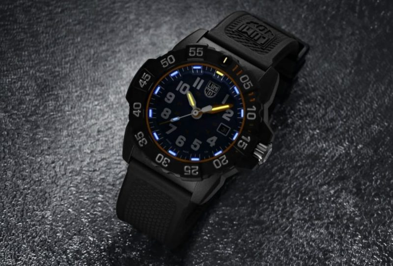 Swiss made Luminox timepiece with glowing hands and markers