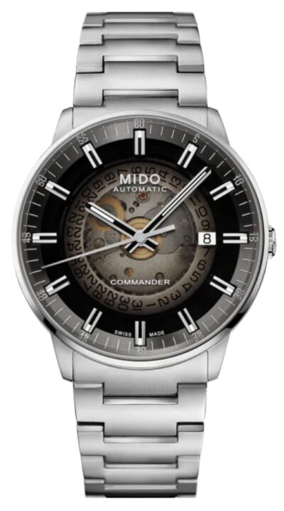 Mechanical Mido timepiece with see-through dial