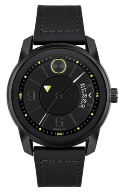 Movado all-black watch with a solitary dot