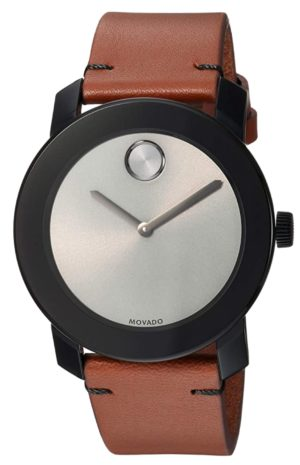 Modern Movado watch with brown leather band