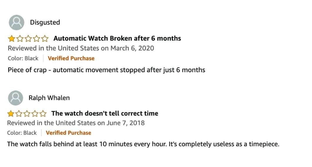 negative reviews on Stuhrling watches