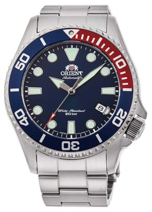 Orient luminous watch with blue and red bezel