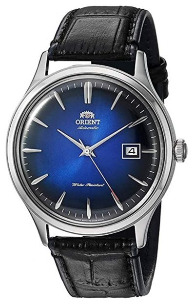 top automatic watch with blue dial and brown leather strap