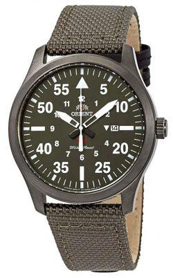 Green field watch with quartz movement