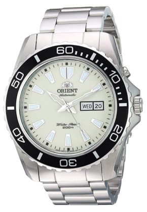 Orient dive watch with white dial and black bezel ring