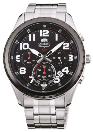 Quartz-driven Orient chronograph watch with red accents