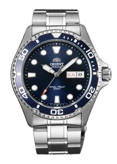 Orient dive watch with blue dial and metal band