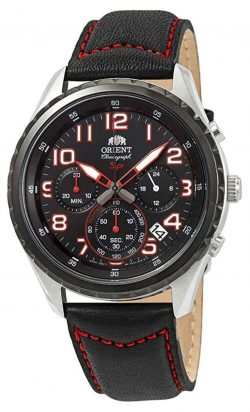 Sporty chronograph watch with black and red apparel