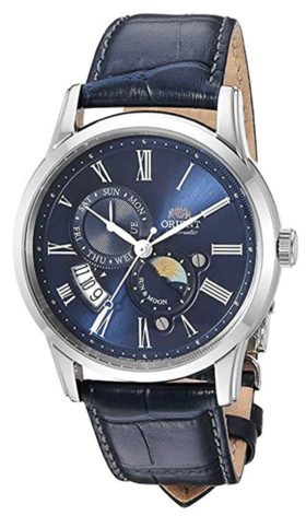 Automatic sapphire crystal watch with moon phase
