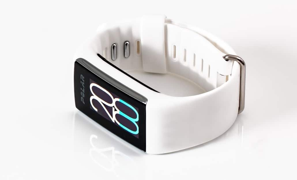 Fitness tracker with white silicone strap