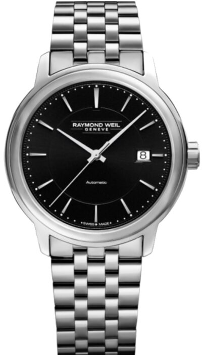 Stainless steel watch with black dial