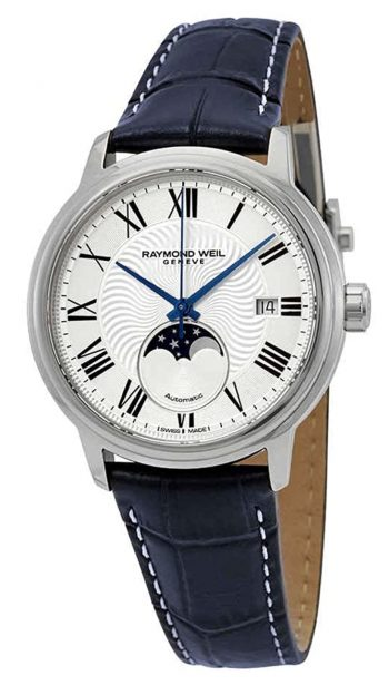 Classic timepiece with white dial and Roman numerals