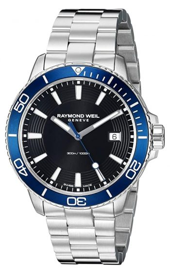blue bezel and black dial Raymond Weil dive watch inspired by music