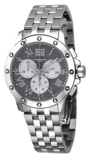 all-gray timepiece with chronograph function