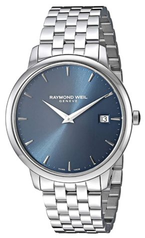 Classy ultra-thin Swiss-made watch with blue dial