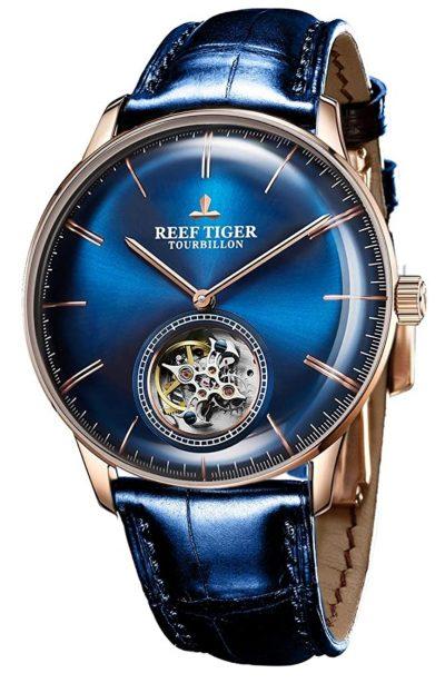 affordable tourbillon piece with dark blue dial