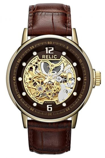 Brown and gold-toned automatic skeletal timepiece