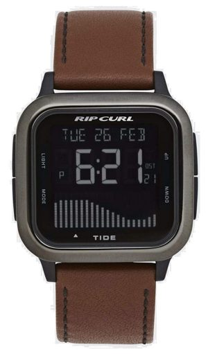 Surf watch with brown leather strap