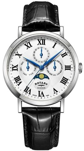 Rotary dress watch with moon phase indicator
