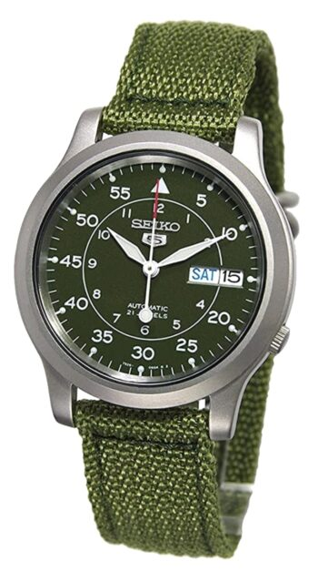 Military-inspired green canvas automatic watch