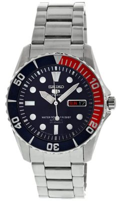 Dive watch with blue face and red and blue bezel