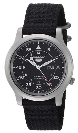 A black watch with a self-winding mechanical movement