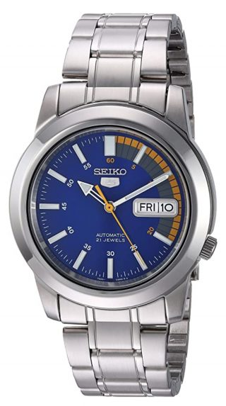 Seiko steel watch with blue dial and orange accent
