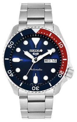 Seiko watch with red and blue Pepsi bezel and luminosity